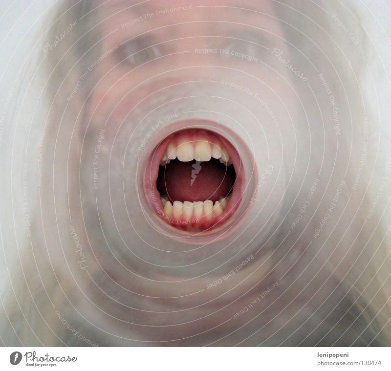 Achtung, Achtung!... Gesicht sprechen Gefühle Glas Mund gefährlich verrückt Kreis rund Kommunizieren Zähne Information hören schreien dumm Tunnel