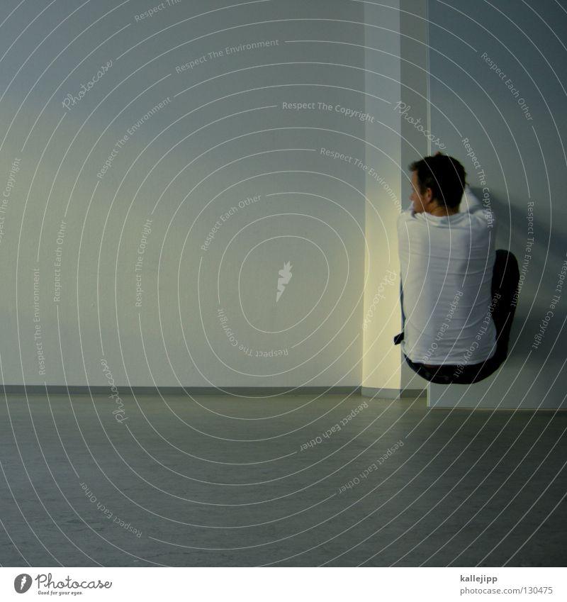 auf arbeit surfen Mensch Mann weiß Wand Raum Tür Wohnung leer Netz Griff Surfer finden verlieren Wert Sucher Versteck