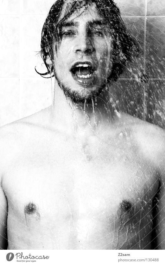 tut das gut Mensch Mann Hand Gesicht Bewegung Haare & Frisuren Kopf nass Wassertropfen frisch Bad Sauberkeit Fliesen u. Kacheln Körperpflege spritzen Waschen