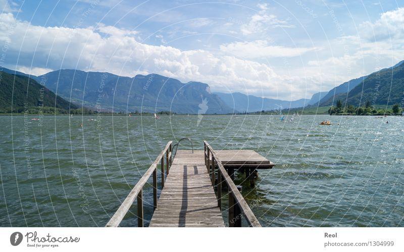 Kalterersee Himmel Natur Ferien & Urlaub & Reisen Sommer Wasser Erholung Landschaft Wolken Ferne Berge u. Gebirge Umwelt Schwimmen & Baden See Tourismus Wellen