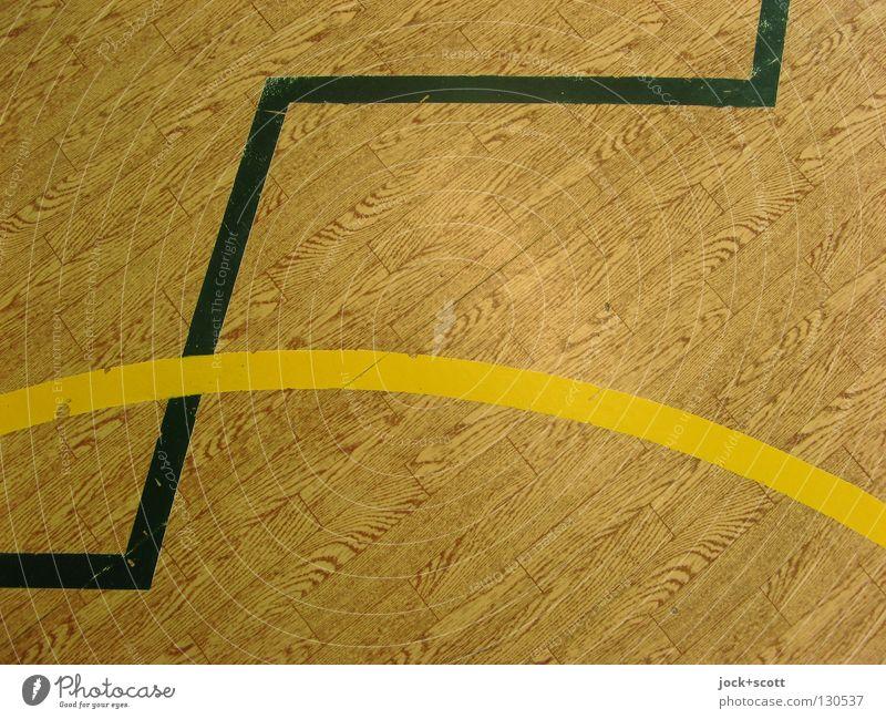 nicht ganz Linientreu! schwarz gelb Leben Gefühle Sport braun Ordnung Perspektive Beginn Kraft Bodenbelag Show Niveau Ziel Kunststoff