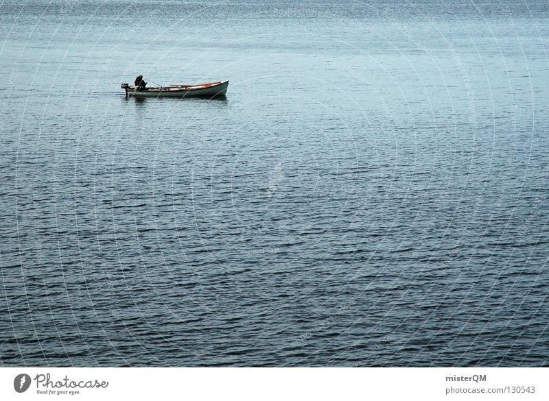 soul water. Angler Fischer See Ferne Wasserfahrzeug klein Richtung Meer Wellen Gewässer Freizeit & Hobby Angeln Jäger fangen Motorboot harmonisch Morgen ruhig