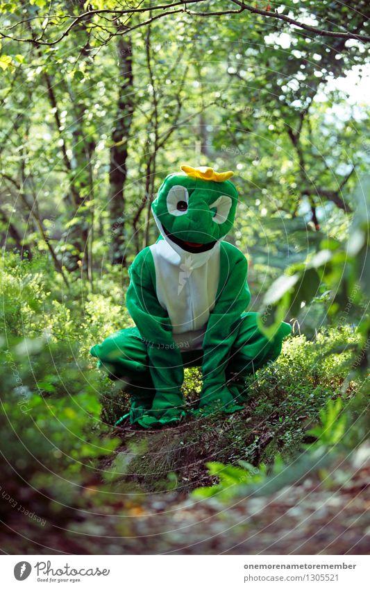 Grüner Schenkel Kunst Kunstwerk ästhetisch Frosch Froschperspektive Froschkönig Froschauge Froschschenkel Wald grün hocken hockend Freude Kostüm Karnevalskostüm