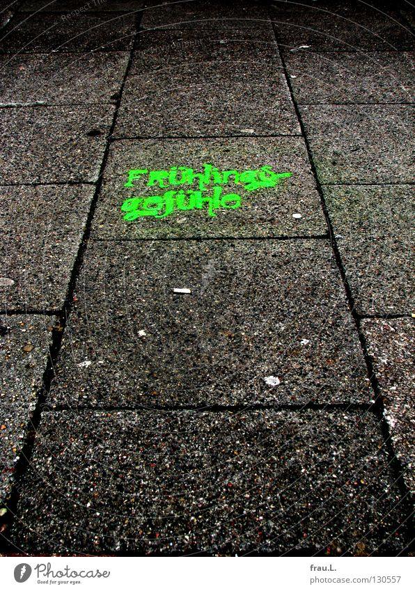 Frühlingsgefühle grün Stadt Freude Lampe Gefühle Frühling Graffiti Beton Schriftzeichen Bürgersteig Typographie Pflastersteine sprühen Frühlingsgefühle Wandmalereien Steinplatten