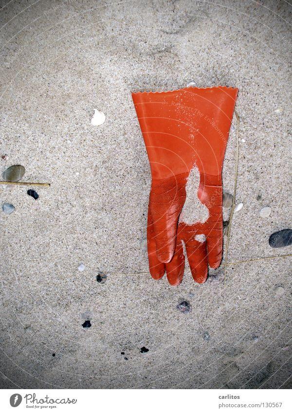 Fisherman's Hand Arbeitsunfall Fischerboot Versicherung Warnfarbe Handschuhe Strand Strandgut Fischereiwirtschaft Sylt Arbeit & Erwerbstätigkeit Angst Panik