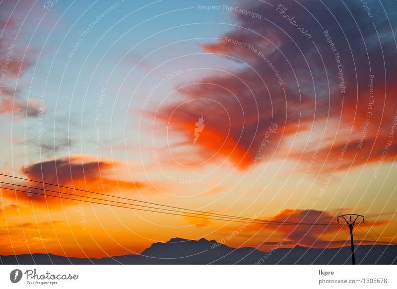 Berg in Marokko Afrika Himmel Natur Ferien & Urlaub & Reisen blau schön Farbe Sommer Sonne rot Landschaft Wolken dunkel Berge u. Gebirge Felsen Park Tourismus
