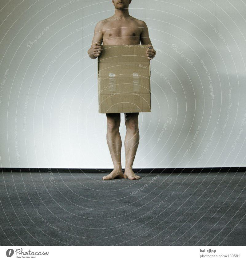 überraschungspaket Überraschung Geschenk Wunsch Mann nackt Tanzfläche Mensch Lifestyle Behälter u. Gefäße Karton Papier Hose Hand Gelenk Zehen Teppich Wand