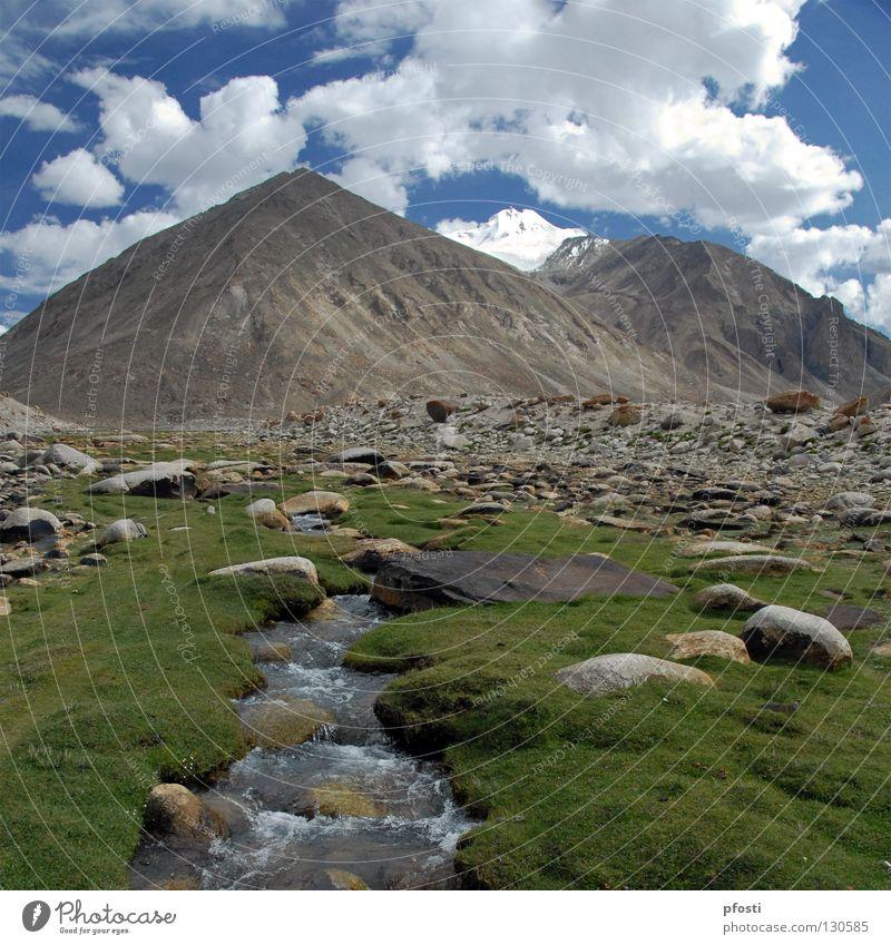 Idyll Gipfel Wolken Gras Wiese Strömung Wildnis Einsamkeit ruhig Bergsteigen wandern fließen Rauschen schön Physik grün schlechtes Wetter harmonisch Idylle
