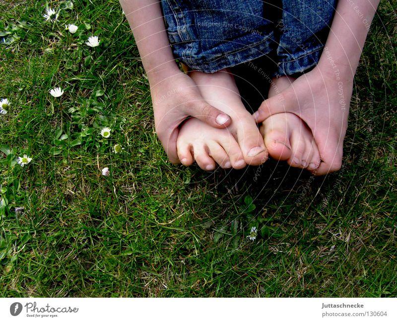 Fußreflexzonen Zehen Barfuß Hand Finger hocken Gras Wiese Kinderfuß Schuhe dreckig Gänseblümchen Blume verlegen Fußreflexzonen-Massage Gesundheit Halm