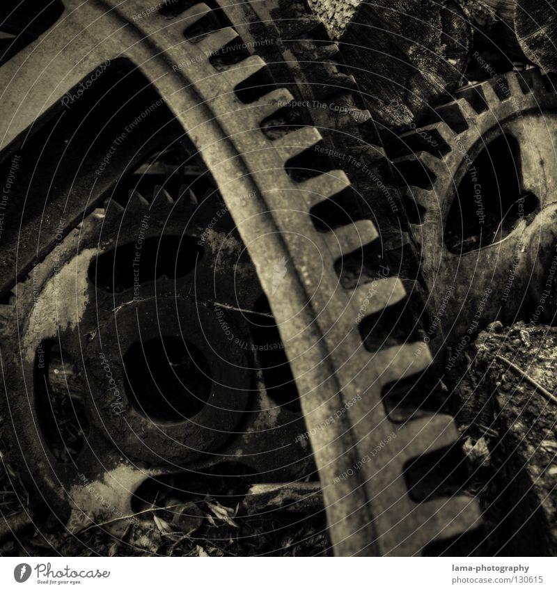 VERGANGENHEIT alt Metall Kraft Uhr Industrie retro Technik & Technologie verfallen Gebiss historisch Vergangenheit Quadrat Rost Rad Stahl drehen