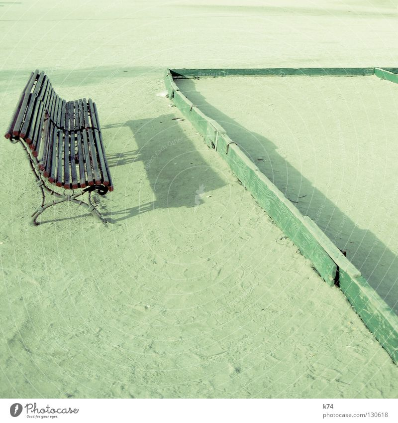 Bouleplatz grün Spielen Holz Sand Landschaft Park Platz Ecke offen Bank Spitze Verkehrswege Aktien Geometrie Boule