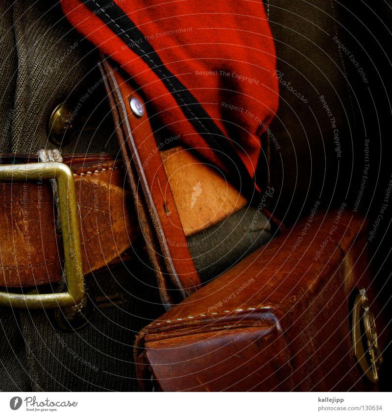 ein offizier und gentleman Gürtel Schnalle Reißverschluss Leder Jacke Knöpfe Armee Truppe kommandieren Befehl Offiziere glänzend Politik & Staat Sack Jute Stoff