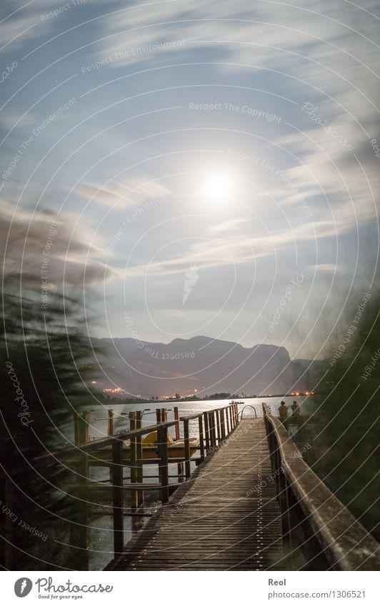 Nächtlicher Steg III Ferien & Urlaub & Reisen Abenteuer Ferne Sommerurlaub Natur Landschaft Nachthimmel Mond Vollmond Schilfrohr Alpen Berge u. Gebirge Küste