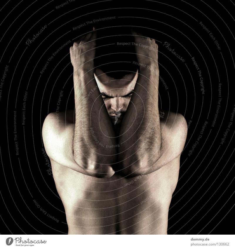 V Mann Kerl nackt fein Bart Stoppel Augenbraue Hand schwarz dunkel Finger Licht Haut skin Klarheit Haare & Frisuren Arme Muskulatur Bauch Brust Low Key low key
