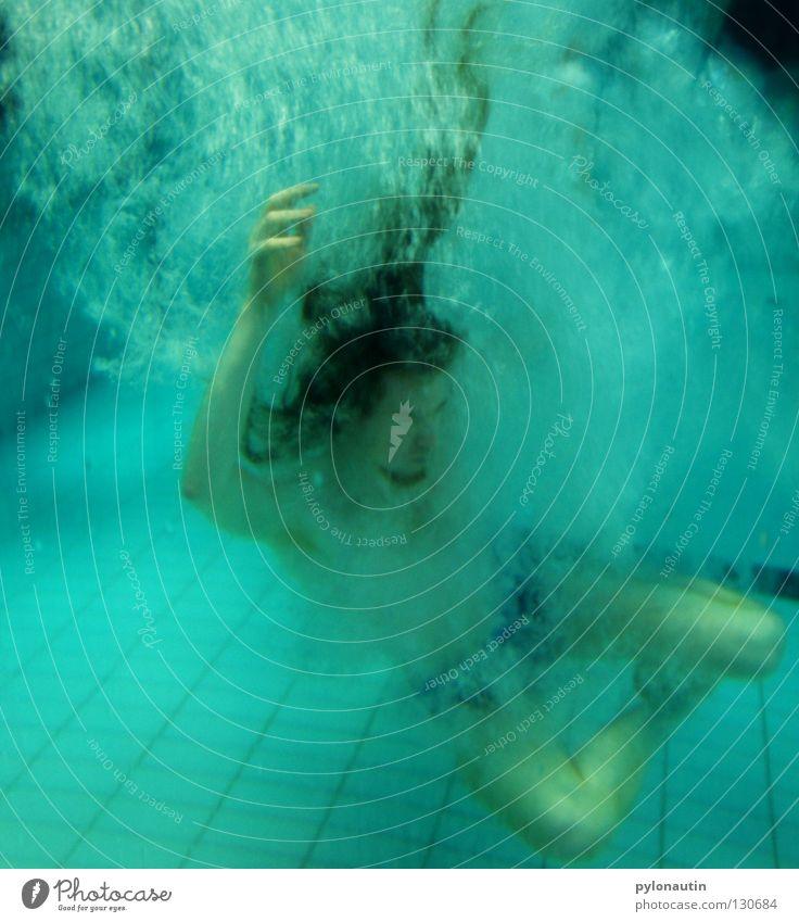 Neptunfisch Schwimmbad tauchen türkis Hand Oberkörper ertrinken Luft Meer Ferien & Urlaub & Reisen Nixe See rot Schulter Meeresgott Wassersport seeungeheuer