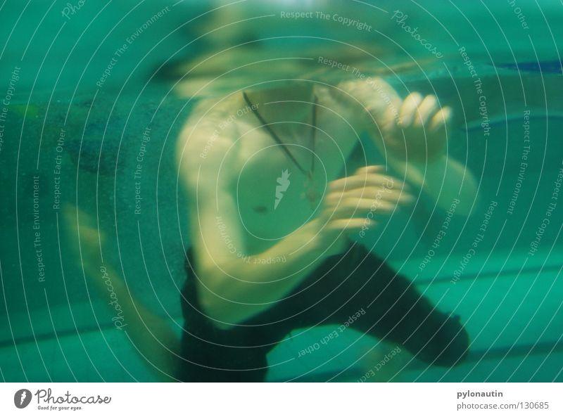 kopfloser Schwimmer blau Hand rot Ferien & Urlaub & Reisen Meer Luft See Schwimmen & Baden Schwimmbad tauchen türkis blasen Schulter Kette Wassersport Blubbern