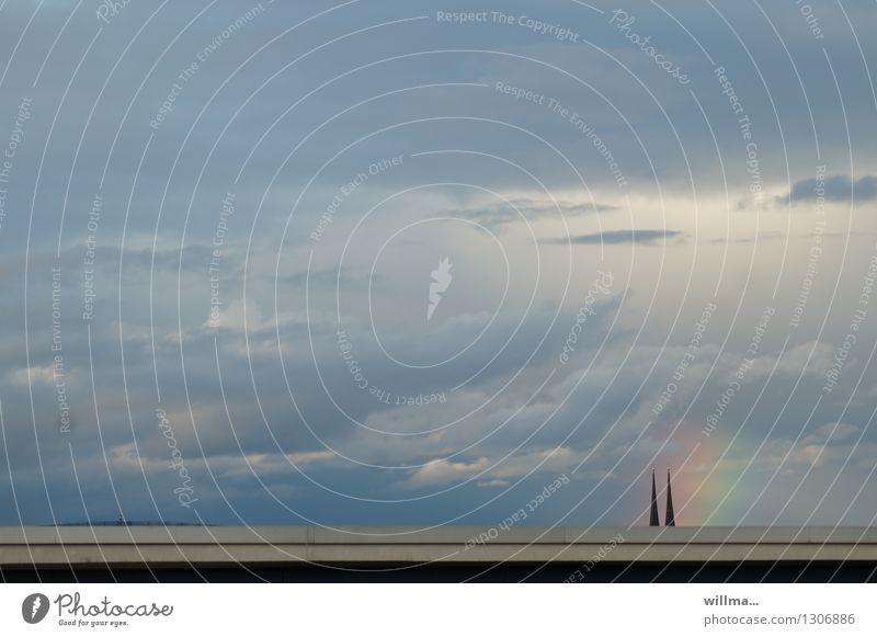 wider den unglauben Himmel Himmel (Jenseits) Wolken Religion & Glaube paarweise Kirche Hoffnung Meinung Regenbogen Naturphänomene Wunder Kirchturmspitze