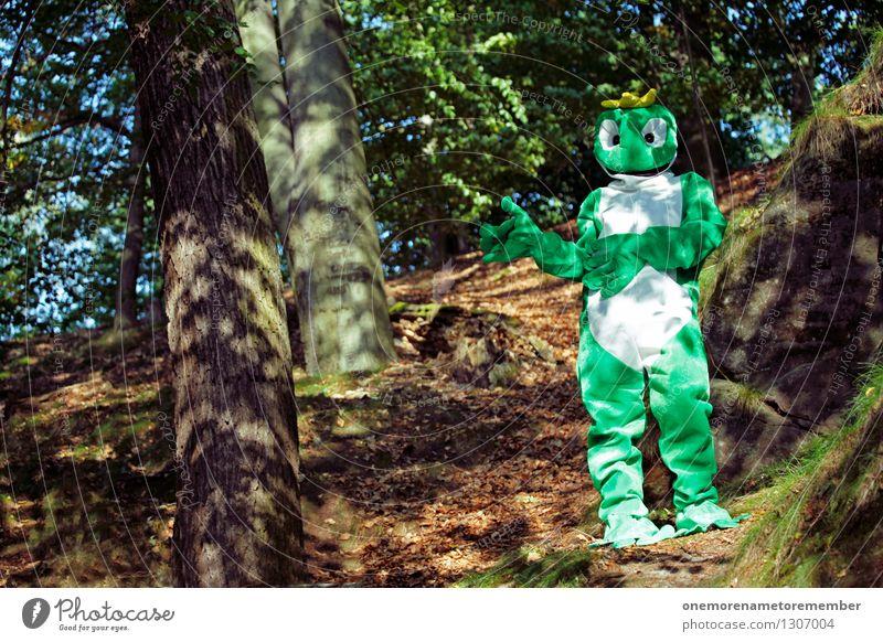 Wälderbummler grün Freude Wald lustig Kunst ästhetisch Frosch Kunstwerk Karnevalskostüm Tarnung verkleiden spaßig Spaßvogel Waldlichtung Froschkönig Waldpflanze