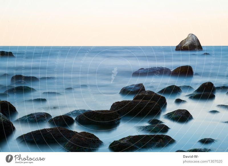 -schleierhaft- Natur Ferien & Urlaub & Reisen blau Wasser Meer Landschaft ruhig Winter dunkel Umwelt kalt Herbst Küste Stein Felsen träumen