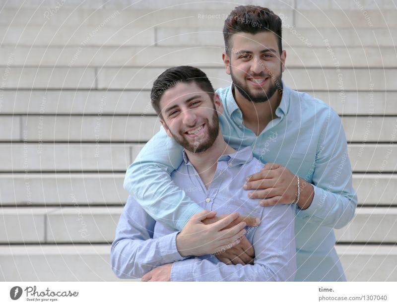 . Mensch Stadt Erholung Leben Gebäude lachen Zeit Zusammensein Freundschaft maskulin Zufriedenheit warten Lächeln Lebensfreude Sicherheit Zusammenhalt