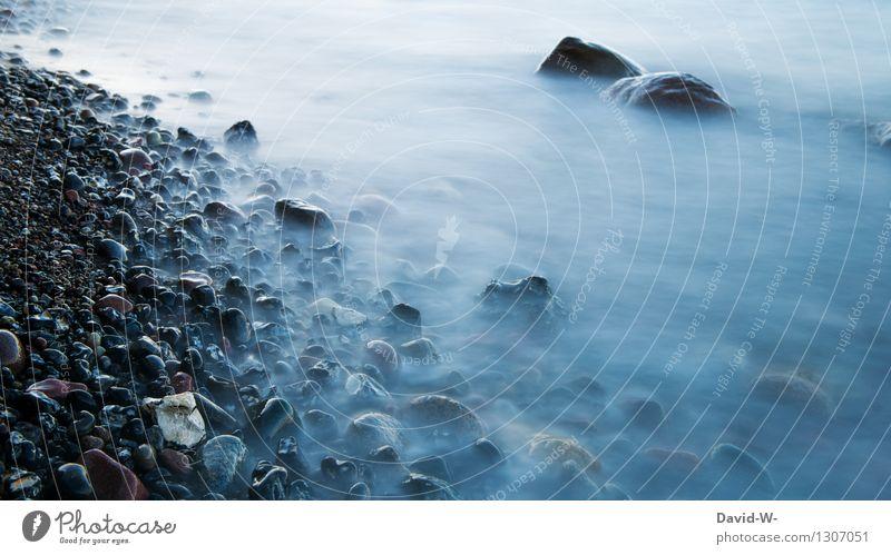 Vom Nebel verschlungen Kunst Kunstwerk Umwelt Natur Landschaft Urelemente Wasser schlechtes Wetter Eis Frost Küste Seeufer Flussufer Nordsee Ostsee Meer Stein