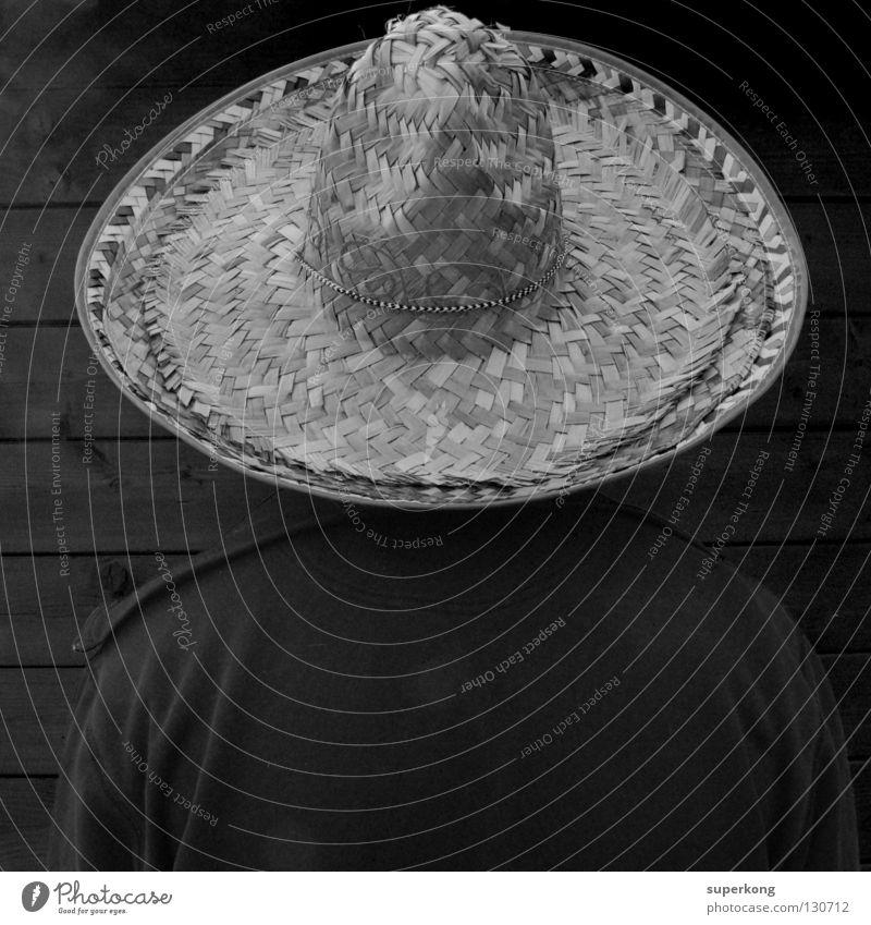 Sombrero Mammut Stil Quadrat Cowboy Mann obskur Hut Schwarzweißfoto scharz Kontrast man gringo Mexiko marriachi desperado