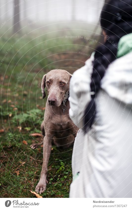 Schimpfen..... Freizeit & Hobby Mensch Frau Erwachsene Natur Nebel Regen Wald Jacke schwarzhaarig langhaarig Zopf Tier Haustier Hund sprechen Kommunizieren