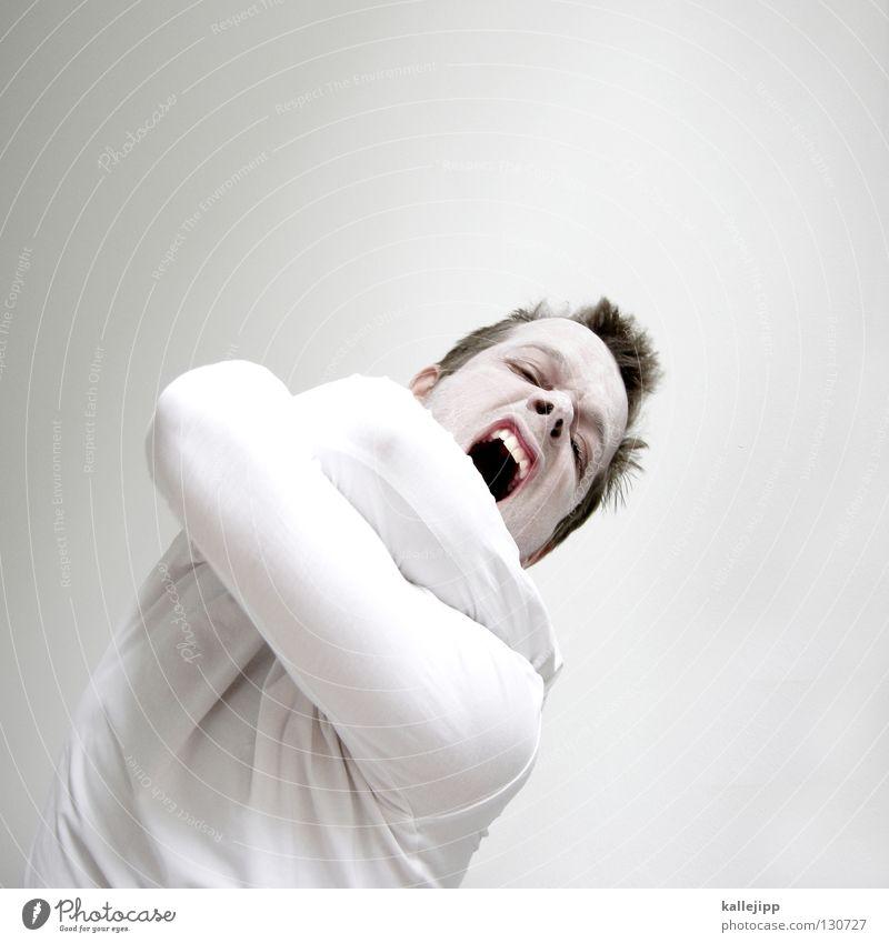 überm kuckucksnest verrückt Krankheit Psychiatrie Tick Wut Tier Monster Mann weiß Schminke Bäcker Kalk Bart Lippen Hemd Sonnencreme Strahlung Licht
