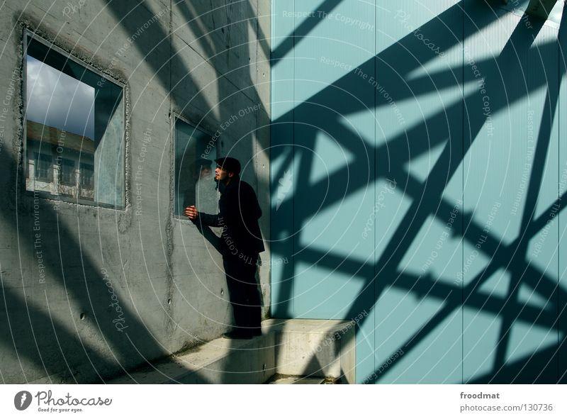 Windows XP aufstrebend Wand Streifen Anzug springen Nervosität vorwärts dumm geschäftlich Verlobung Mann maskulin zielstrebig Stil lässig diagonal Mütze Schweiz