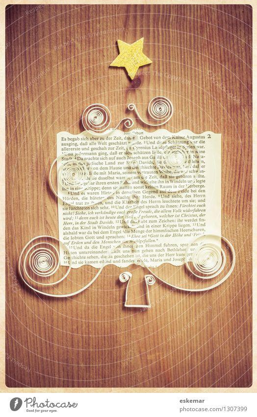 es begab sich aber zu der Zeit alt Weihnachten & Advent weiß Baum Holz Religion & Glaube braun gold Schriftzeichen Buch Stern (Symbol) Papier retro Zeichen Postkarte Glaube