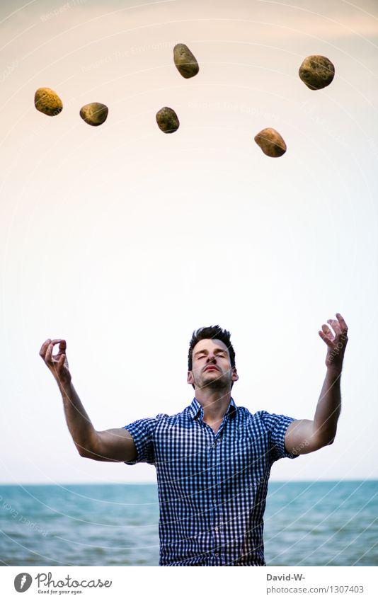 Telekinese Mensch Jugendliche Mann Erholung Junger Mann ruhig Erwachsene Leben Bewegung Stil Gesundheit außergewöhnlich fliegen Stein Gesundheitswesen maskulin