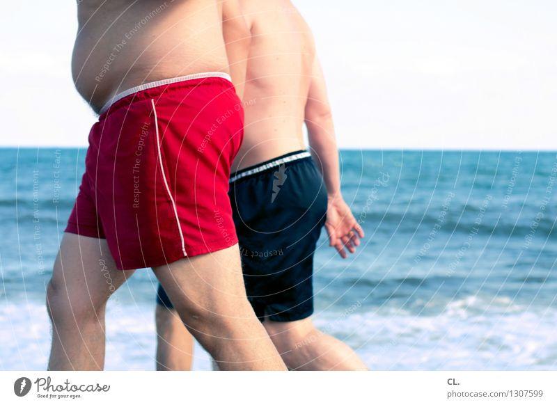 strandfiguren Mensch Ferien & Urlaub & Reisen blau Sommer Wasser Meer rot Strand Erwachsene Leben lustig Schwimmen & Baden gehen maskulin Tourismus