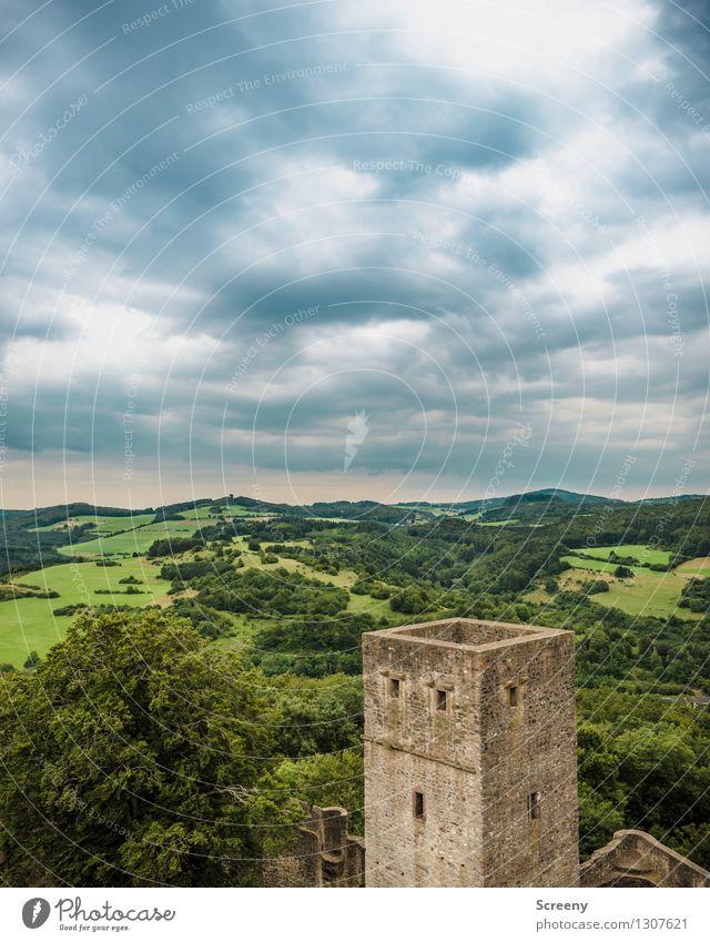 Über der Eifel... Natur Landschaft Pflanze Himmel Wolken Sommer Wetter schlechtes Wetter Baum Wiese Feld Wald Burg oder Schloss Ruine hoch Ferne Turm Mauer