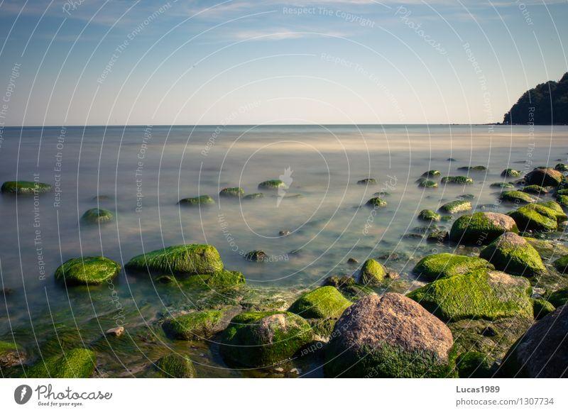 Paradies Umwelt Natur Wasser Himmel Sonne Sommer Klima Wetter Schönes Wetter Wind Nebel Pflanze Moos Algen Stein Hügel Felsen Wellen Küste Seeufer Strand Bucht