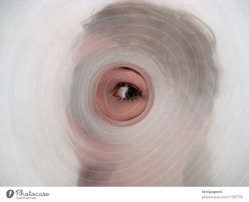 Fernrohr Gesicht Auge sprechen Glas verrückt Kreis Kommunizieren rund Information beobachten schreien Tunnel Richtung Lautsprecher dumm Flucht