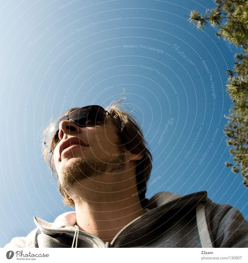 mittagspause Mann Jugendliche stehen Pause Mittag Erholung Brille Bart Baum Physik Mensch Körperhaltung Sonne genießen sonnebrille Wärme