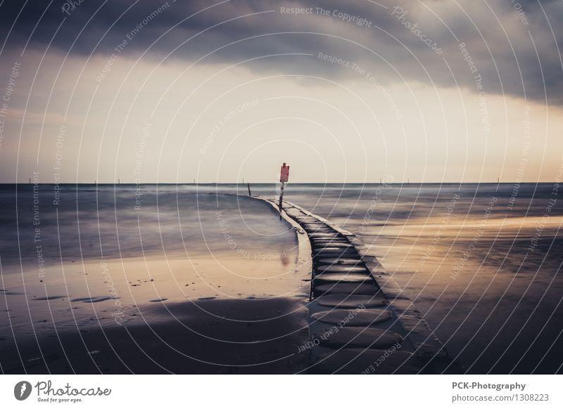 Abendsteg am Meer Himmel Wolken Horizont Sonnenaufgang Sonnenuntergang Frühling Sommer Herbst Wetter Adria Mittelmeer Einsamkeit Steg Schilder & Markierungen