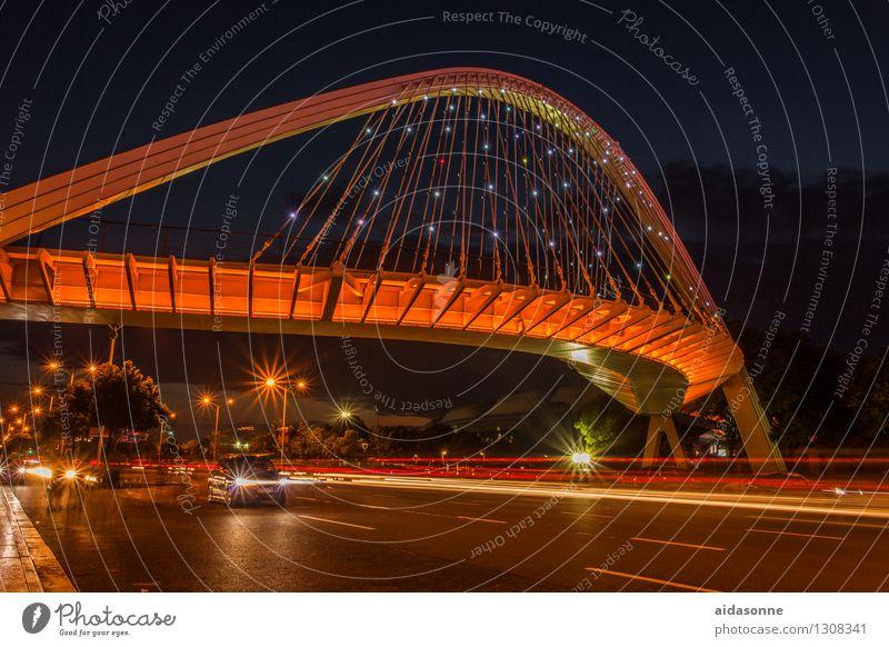 Brücke bei Nacht Jiangsu China Stadt Hafenstadt Stadtzentrum Menschenleer Verkehrswege Straßenverkehr Autofahren PKW Beleuchtung Lichtzieher stern Farbfoto