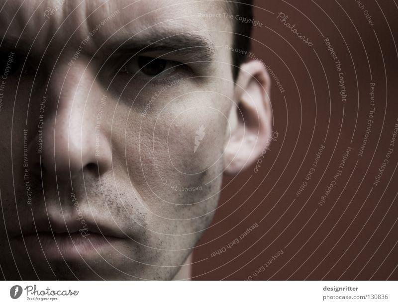 Was hast du gesagt?! Mann Gesicht Auge Mauer Mund Nase Schutz Wut Ärger Aggression Defensive Mensch ärgerlich