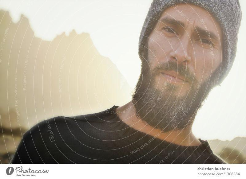 wie es ist Mann Erwachsene Gesicht 1 Mensch 30-45 Jahre Natur Berge u. Gebirge Mütze Vollbart Denken Blick eckig selbstbewußt Coolness Verantwortung achtsam