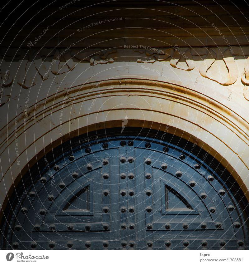 Griff in London antik braun Tür rostig Stil Design Haus Dekoration & Verzierung Kunst Kultur Stadt Gebäude Architektur Ring Metall Ornament alt retro