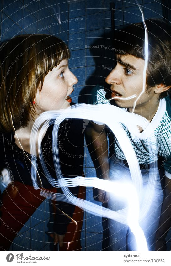 Jugend forscht Frau Mensch Mann blau Freude Farbe Leben Gefühle Stil Bewegung Denken Erde Linie Paar Kraft Zusammensein