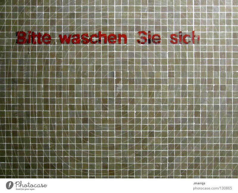 mit Seife Wand Mosaik Strukturen & Formen braun rot dunkel Schriftzeichen Typographie Buchstaben Wort Wunsch fordern auffordern Vorschrift Sauberkeit