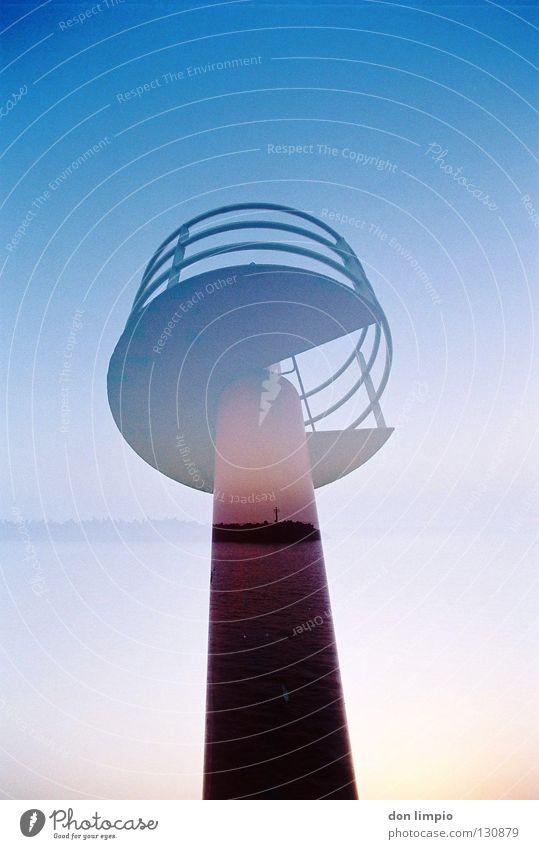 nah und weit.... Doppelbelichtung analog Fuerteventura durcheinander Hafen Turm Morro Jable blau