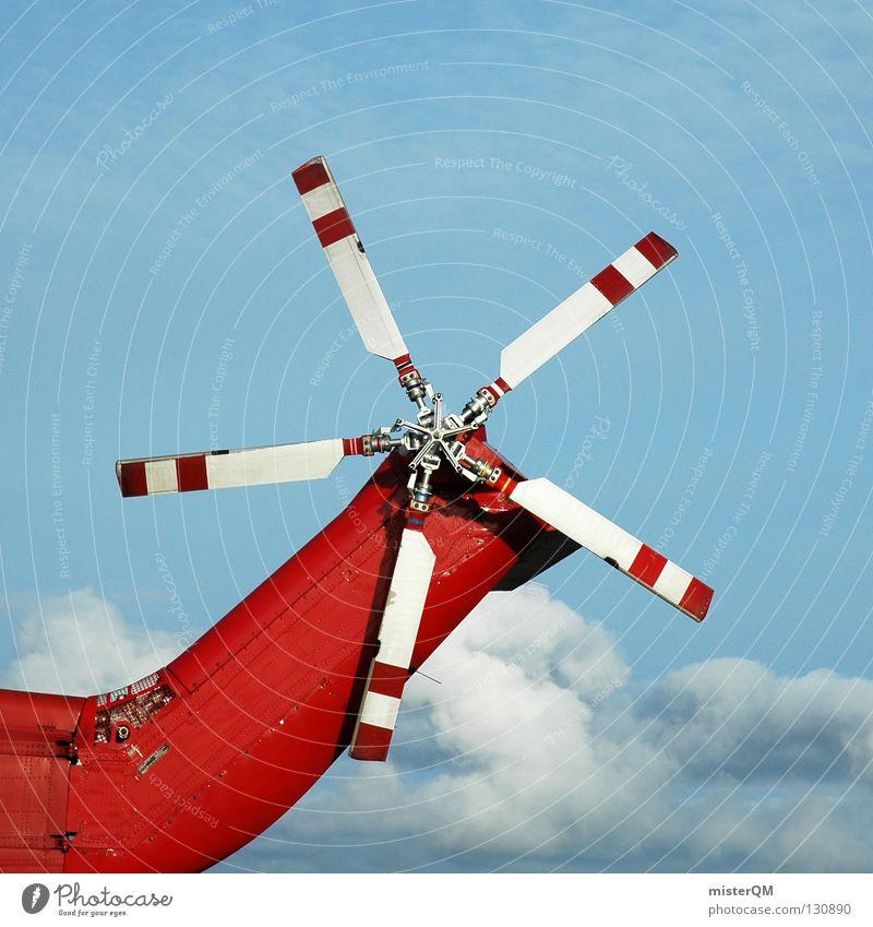 Rescue Me I Rescue Too, Ahaaaaaaa weiß rot Wolken fliegen hoch Technik & Technologie Flughafen Maschine Rettung retten Erneuerbare Energie Hubschrauber Rotor Rettungshubschrauber