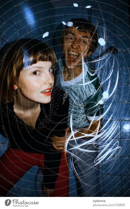 Into the Galaxy Langzeitbelichtung Mann Frau Experiment Zusammensein entdecken Partnerschaft Teilung Ereignisse Licht stehen Gedanke Zeit Gefühle wahrnehmen