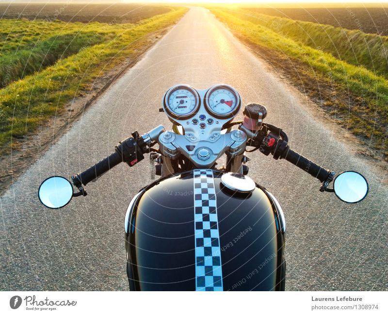 Motorcyle Horizont Ferien & Urlaub & Reisen schön schwarz gelb Stil Freiheit hell orange träumen wild Tourismus gold Fröhlichkeit ästhetisch Geschwindigkeit
