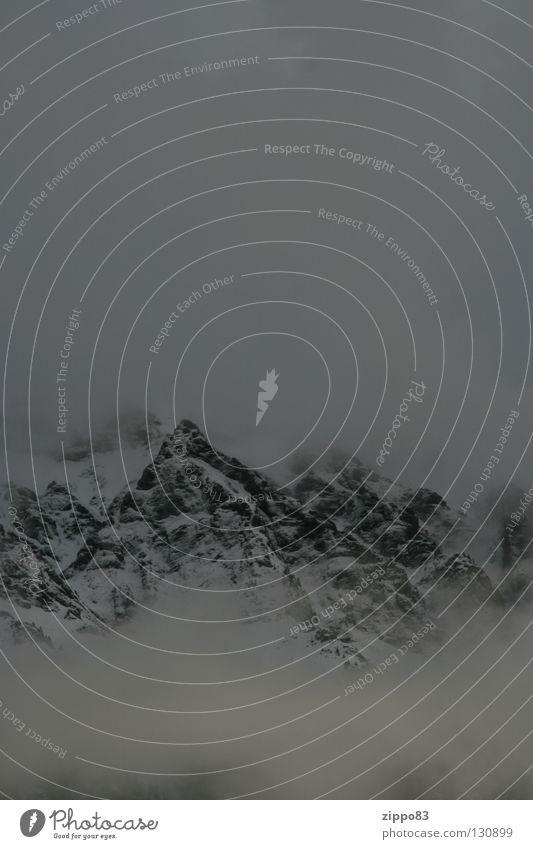 Berg am Morgen Winter Einsamkeit dunkel kalt Schnee Berge u. Gebirge Nebel