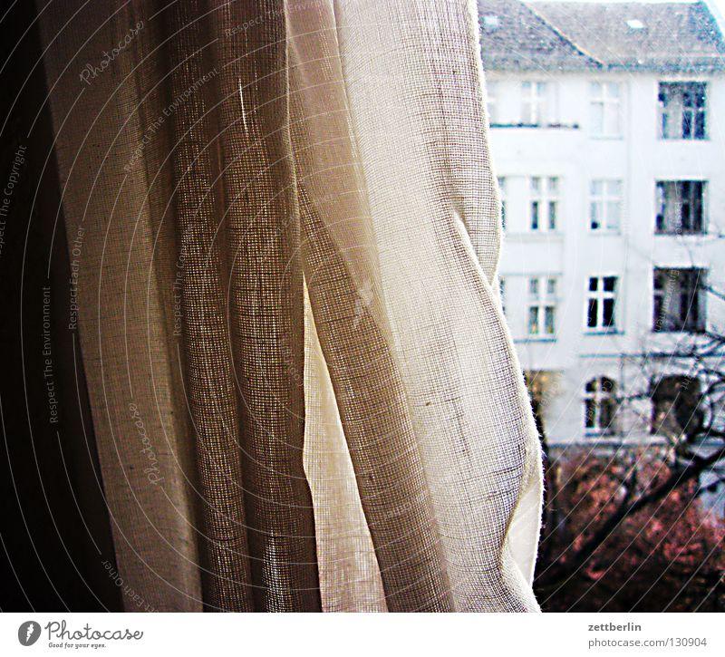 Kein Wetter Haus Fenster Gardine Vorhang Glasscheibe Sonntag Nachbar Balkon Baum Detailaufnahme Häusliches Leben fensterm danke juttaschnecke Fensterscheibe