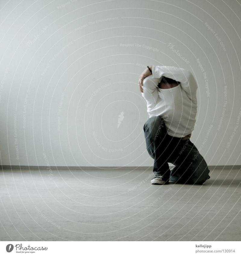 blinde kuh Mensch Mann weiß Einsamkeit Wand Denken Mauer Beine Arbeit & Erwerbstätigkeit Tanzen Lifestyle Bodenbelag Wut Sturm Dienstleistungsgewerbe Müdigkeit